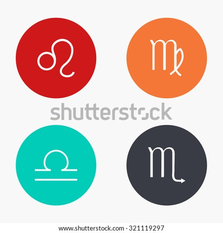 Vector modern sings of the zodiac colorful icons set on white background - stock vector
