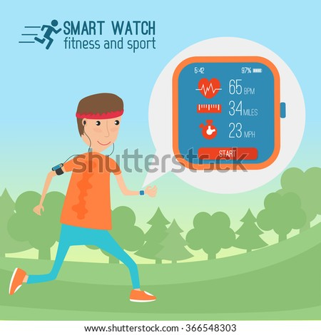 Vector modern sportsman using modern high tech devices in everyday life and training showing  tracking his health condition with smart bracelet, mobile application and cloud services - stock vector