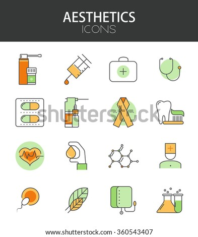 Vector modern thin line flat design of icons set. Health and midicine infographic collection - stock vector