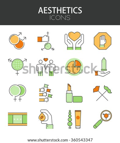 Vector modern thin line flat design of icons set. Sexual Minorities set outline infographic collection. Eps10 - stock vector