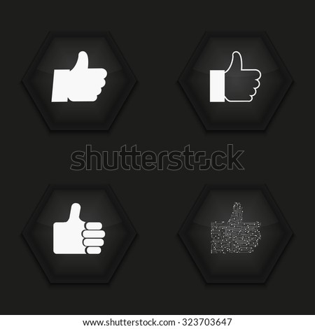 Vector modern thumb up  icons set on  background - stock vector