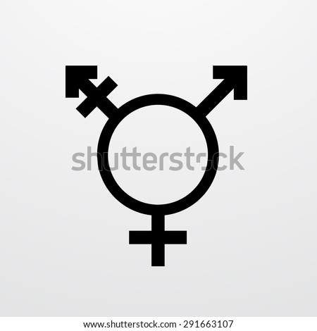 Vector modern transgender symbol on white background. type of sexual minorities - stock vector