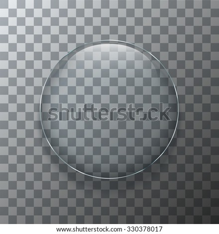 Vector modern transparent circle glass plate with shadow on sample background - stock vector