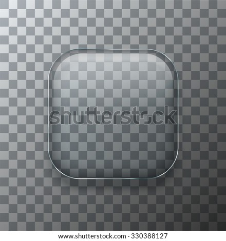 Vector modern transparent square glass plate with shadow on sample background - stock vector