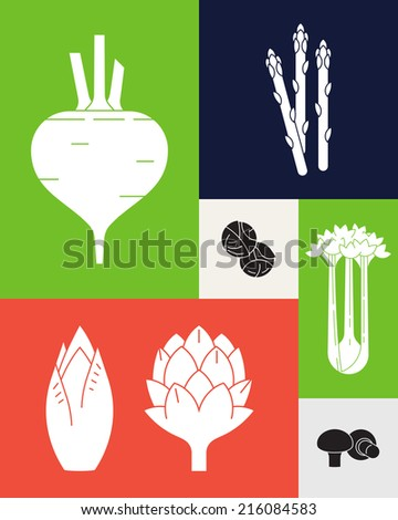 Vector modern trendy minimalistic vegetables design | Healthy food abstract colorful background featuring various vegetables - stock vector