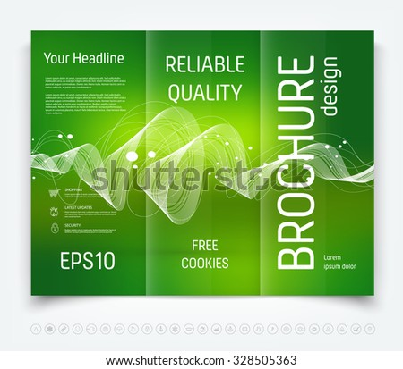 Vector modern tri-fold brochure design template with a freehand dynamic swirl on green blurred background - stock vector