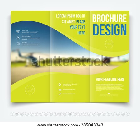 Vector modern tri-fold brochure design template with blurred defocused helicopters on the background - stock vector