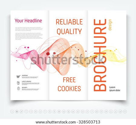 Vector modern tri-fold brochure design template with colorful dynamic swirl background - stock vector