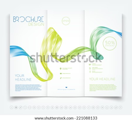 Vector modern tri-fold brochure design template with colorful dynamic wave background - stock vector