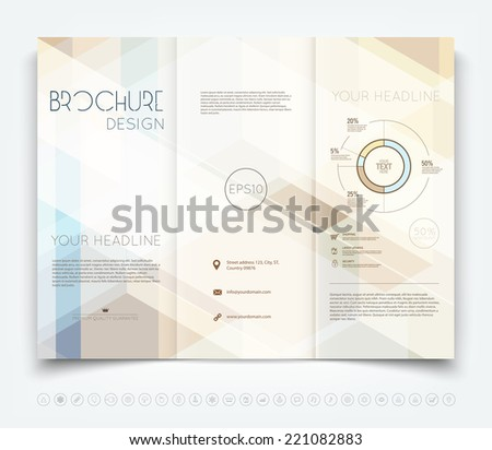 Vector modern tri-fold brochure design template with hi-tech polygonal background - stock vector
