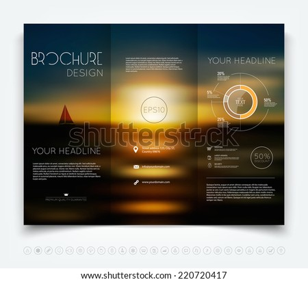 Vector modern tri-fold brochure design template with smooth colorful unfocused background - stock vector