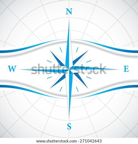 Vector modern wind rose compass - stock vector