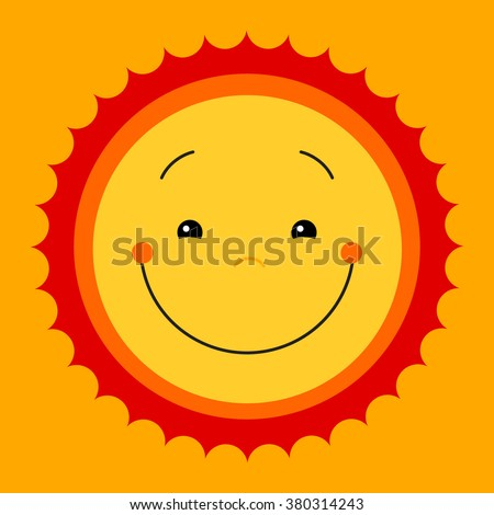 Vector modern yellow smiling from ear to ear fun happy sun sign. Smile sweat cute kids sun sun symbol for kid design, children design, kid logo, children logo, kids summer camp decoration. Clipart. - stock vector