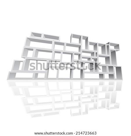 Vector modular shelving 3d - stock vector