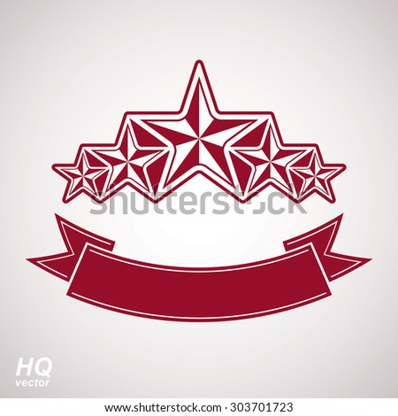 Vector monarch symbol. Festive graphic emblem with five pentagonal stars and curvy ribbon, decorative luxury eps8 template. Success concept theme design element. - stock vector