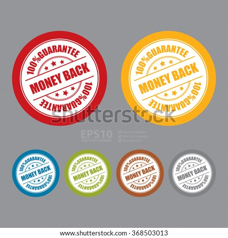 Vector : Money Back 100% Guarantee Campaign Promotion, Product Label, Infographics Flat Icon, Sign, Sticker - stock vector