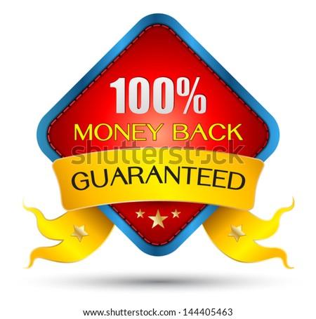 Vector money back guarantee sign, tag - stock vector