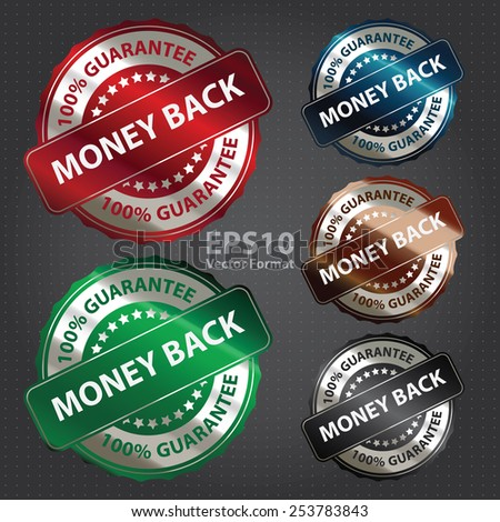 vector : money back 100% guarantee sticker, banner, sign, icon, label - stock vector
