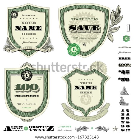Vector money frame and badge template set. Great for financial themes, diplomas, certificates, and awards. - stock vector