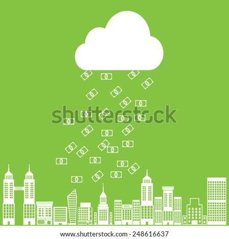 Vector money rain with banknotes  - stock vector