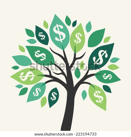 Vector money tree - symbol of successful business  - stock vector