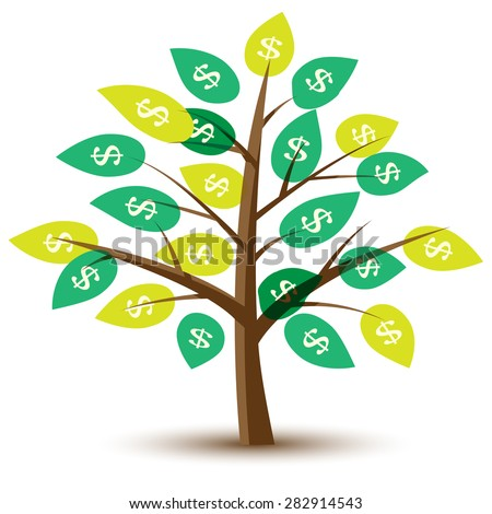 Vector money tree with leaves in dollars. Illustration. - stock vector
