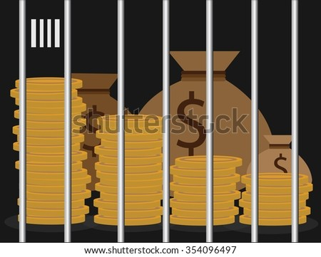 Vector money was jailed for corruption and the media to go to prison. - stock vector