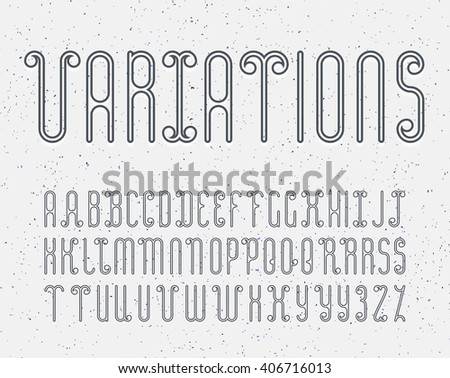 Vector mono line decorative font for dark backgrounds. Latin alphabet of outline letters. Some variations of letters for better kerning. For light and grey backgrounds.  - stock vector