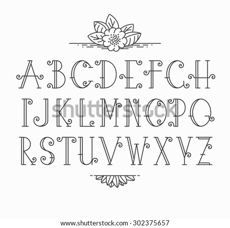 Vector mono line decorative font. Latin alphabet of vintage outline letters.  - stock vector