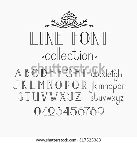 Vector mono line decorative font. Latin alphabet of vintage outline letters. Capitals, smalls and numerals.  - stock vector