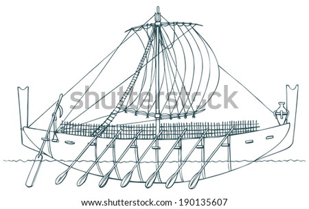 Vector monochrome contour picture in style of book engravings. Ancient ship that was used for swimming Phoenician and Greek seamen and merchants for trading, settling and colonization of new lands - stock vector