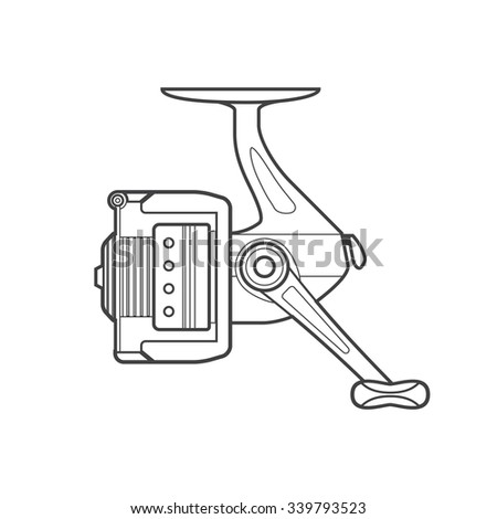 vector monochrome contour spinning fishing fixed spool reel isolated black outline illustration on white background