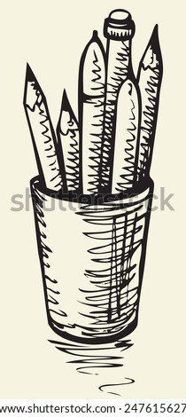 Vector monochrome freehand sketchy linear drawn background in doodle style pen on paper with space for text. Stationary plastic box of pens and pencils - stock vector