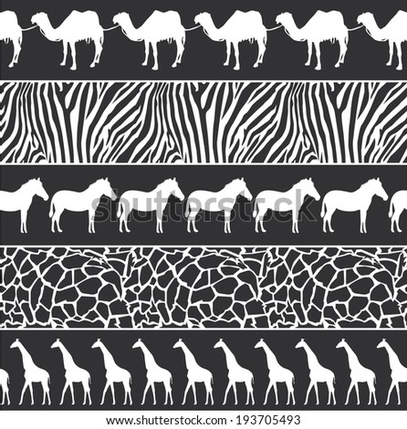 Vector monochrome illustration of African style seamless pattern with wild animals - stock vector