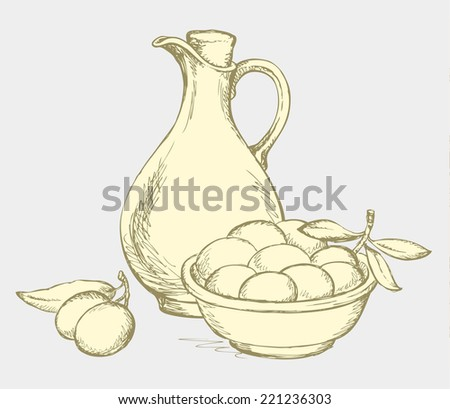 Vector monochrome line drawing style of antiquity engravings. Still life of corked jug with oliveoil, pot of fruits and twig of ripe olives with leaves on olivaceous backdrop - stock vector