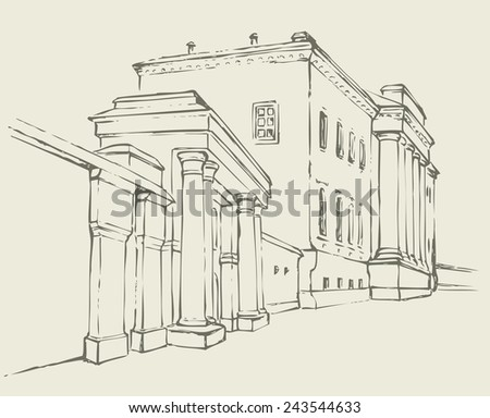Vector monochrome sketch of the urban landscape of the old street. Massive two-storey building with a colonnade and a high fence, which is entrance to park - stock vector