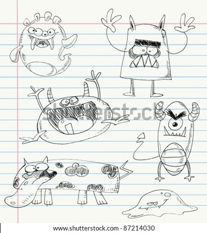Vector monster doodles on a notebook paper. Set number 1 - stock vector