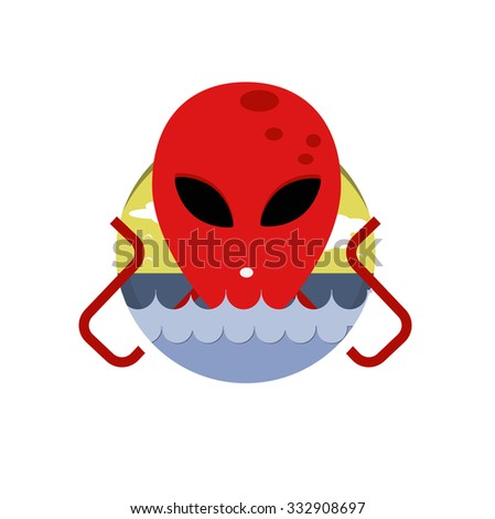 Vector monster in the background of sea and sky. Sea monster. Icon and picture - stock vector