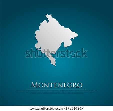 vector Montenegro Map card paper on blue background, high detailed - stock vector