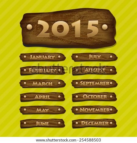 Vector Month Wooden Board - stock vector