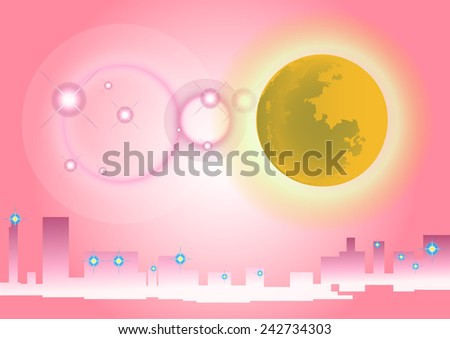 vector moon and city in the background pink. - stock vector