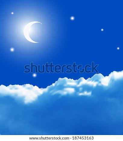 vector moon and cloud  - stock vector