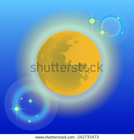 Vector moon in the background blues square. - stock vector
