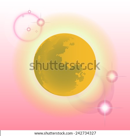 vector moon in the background pink square. - stock vector