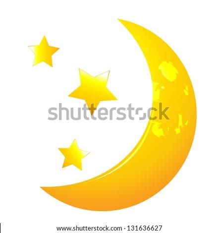 Vector moon whit stars - stock vector