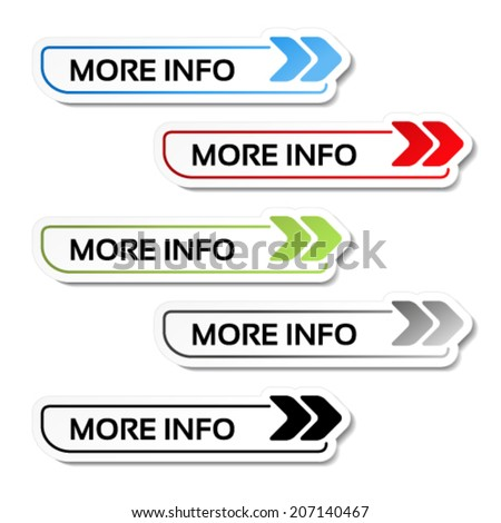 Vector more info buttons with arrows - labels on the white background - stock vector