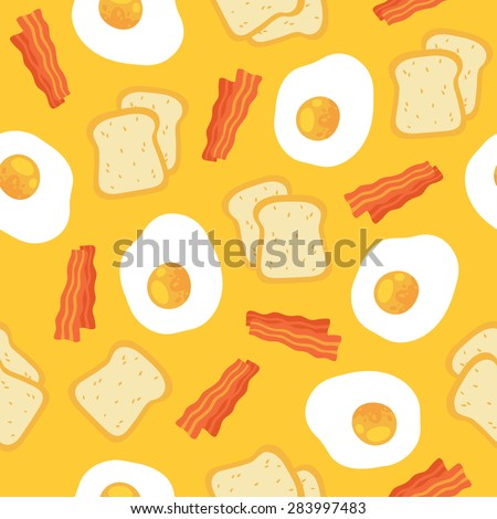 Vector morning breakfast seamless pattern with scrambled eggs, toasts and bacon. Cartoon illustration on yellow background.  Seamless pattern can be used for wallpapers, web backgrounds. - stock vector