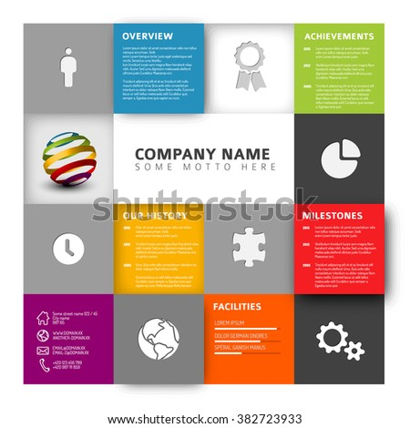 Vector Mosaic Company infographic profile design template with icons - stock vector
