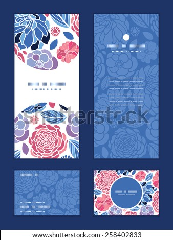 Vector mosaic flowers vertical frame pattern invitation greeting, RSVP and thank you cards set - stock vector