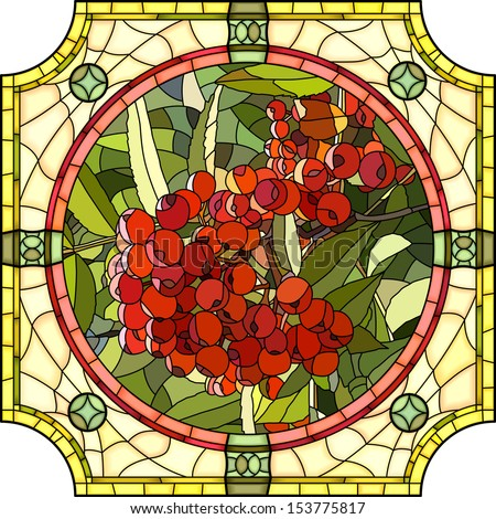 Vector mosaic with large cells of brightly red berries of mountain ash in round stained-glass window frame. - stock vector